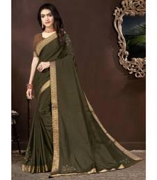 Olive Green Vichitra silk Lace Work Designer Saree