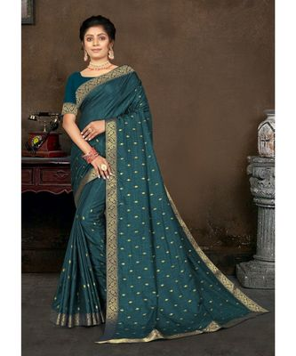 Teal Blue Vichitra silk Lace Work Designer Saree