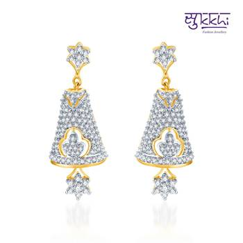 Sukkhi Gleaming Gold and Rhodium Plated CZ Jhumki(154E3110)