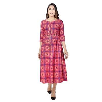 Light-pink printed cotton kurtas-and-kurtis