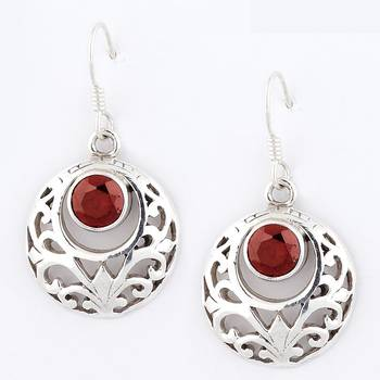 Fine Jaali Cut Pair Of Silver Earrings With Garnet_20