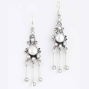 Rocking Pair Of Silver Earrings With Natural Pearls_22