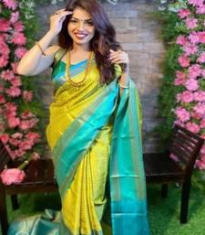 Yellow & Aqua Blue Color Beautiful Designer Soft Litchi silk Saree with Blouse piece for Women
