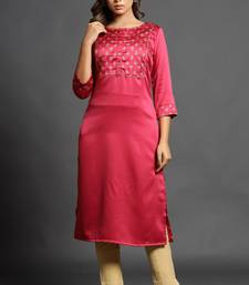 Dark-rani-pink plain satin ethnic-kurtis