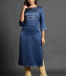 Blue plain satin ethnic-kurtis