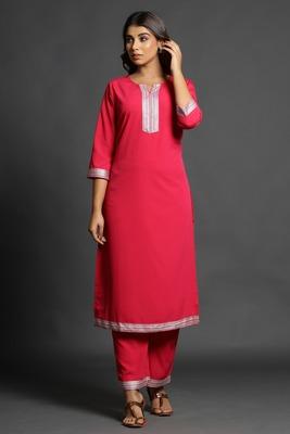 Dark-rani-pink plain crepe ethnic-kurtis