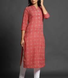 Blood-red printed cotton ethnic-kurtis