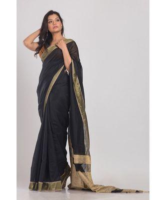 Black Blended Cotton Handloom Saree Golden Pallu