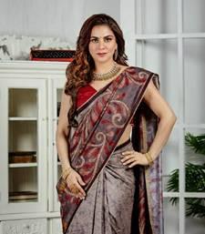 Shraddha arya Grey woven tussar_silk saree with blouse