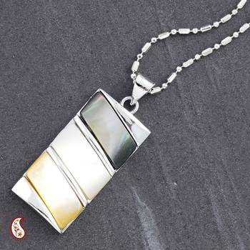 Tricolour Mother of Pearl Pendant