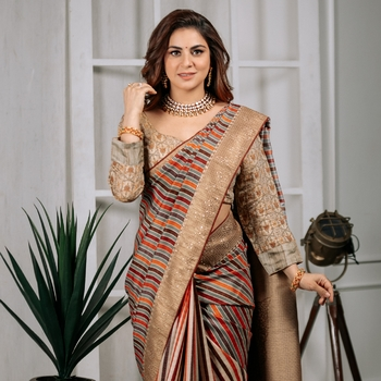 Shraddha arya multicolor woven tussar_silk saree with blouse
