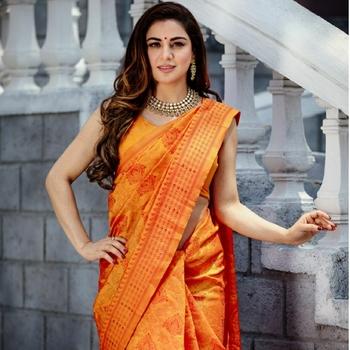 Shraddha Arya Designer Orange Art Silk Saree