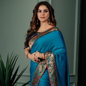 shraddha arya turquoise woven silk  saree