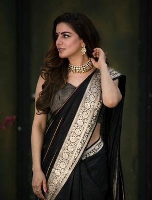 Shraddha Arya Designer Black woven art silk saree with blouse