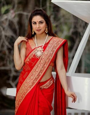Shraddha Arya Designer Red woven art silk saree with blouse