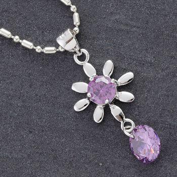 Purple CZ Silver Flower Pendant