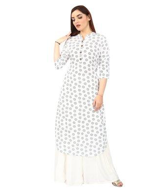 White printed rayon long-kurtis