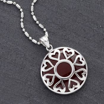 Round Agate and Silver Pendant