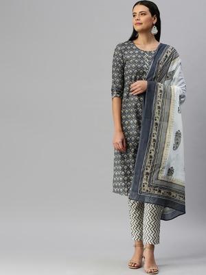 Dark-grey printed cotton cotton-kurtis