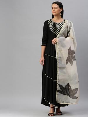 Black plain rayon ethnic-kurtis