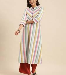 Multicoloured Striped Bell Sleeves Kurta