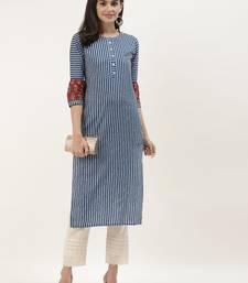 Blue & White Striped Straight Kurta
