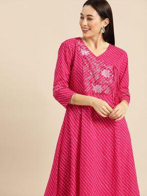 Pink & White Leheriya Printed Angrakha Kurta With Embroidery