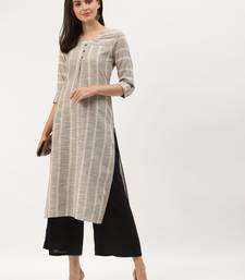 Beige & Black Cotton Striped Straight Kurta