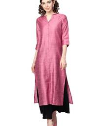 Pink Dobby Weave Woven Design Straight Kurta