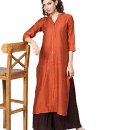 Rust Orange Dobby Weave Woven Design Straight Kurta