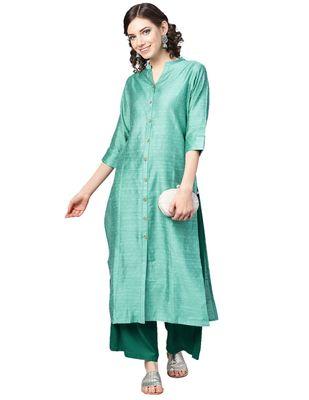 Green Dobby Weave Woven Design Straight Kurta