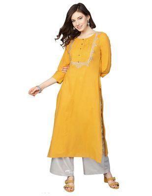 Women Mustard Yellow Yoke Design Straight Kurta