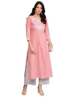 Women Pink Yoke Design A Line Kurta