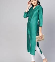 Women Green Solid Straight Kurta