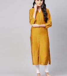 Women Mustard Yellow Solid Silk Straight Kurta