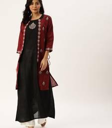Women Black Solid A Line Kurta With Maroon Jacket