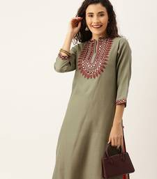 Women Olive Green With A Tinge Of Beige & Maroon Embellished Straight Kurta