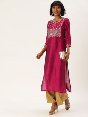 Women Magenta Pink Yoke Design Straight Kurta