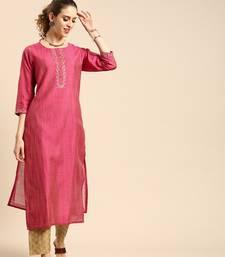 Women Magenta Pink Embroidered Yoke Design Straight Kurta