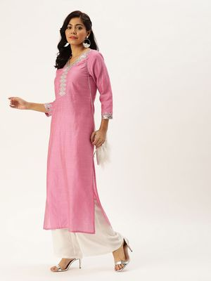 Women Pink Solid Straight Kurta