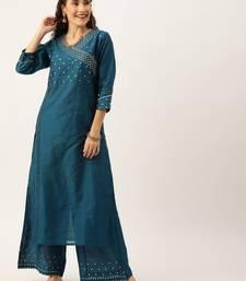 Women Teal Blue Sequined Yoke Design Angrakha Kurta With Palazzos