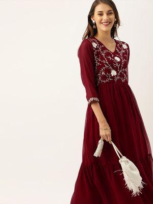women maroon embroidered anarkali kurta