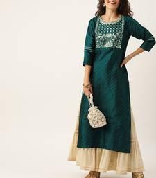 Women Green & Silver Toned Yoke Design Straight Kurta