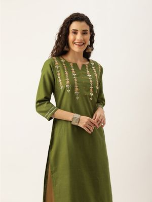 Women Olive Green & Peach Coloured Solid Straight Kurta With Embroidered Details