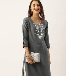 Women Grey Yoke Design Mirror Work Straight Kurta