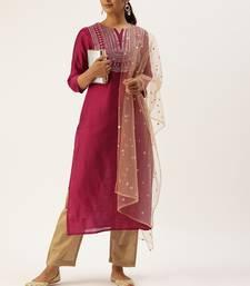 Women Magenta Pink & Beige Sequined Yoke Design Kurta With Trousers & Dupatta