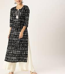 Women Black & White Printed Straight Kurta