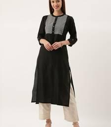 Women Black & Silver Toned Embroidered Straight Kurta