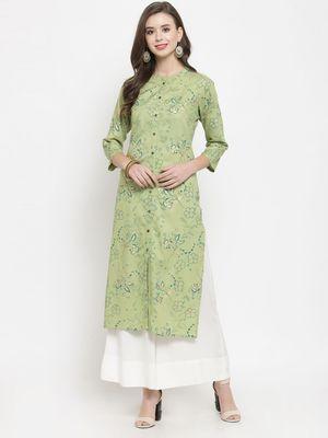 Women Green & Blue Floral Print Straight Kurta