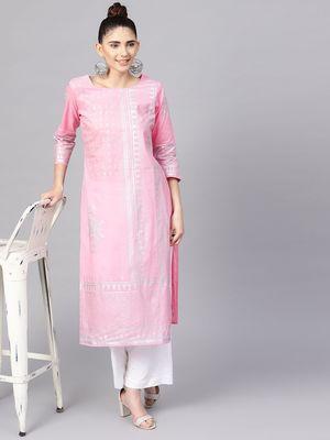 Pink Foil Print Straight Kurta